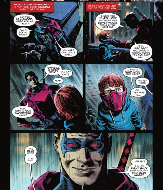 Red Hood gives a little boy his mask to make him feel safe while he laves him alone in an alley, and asks him what his superhero name is, in Batman: Urban Legends #1, DC Comics (2021).