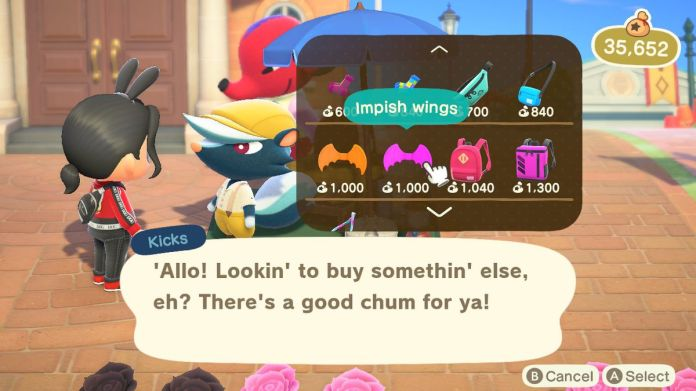 An Animal Crossing character looks at Kicks' wares, which include Impish Wings