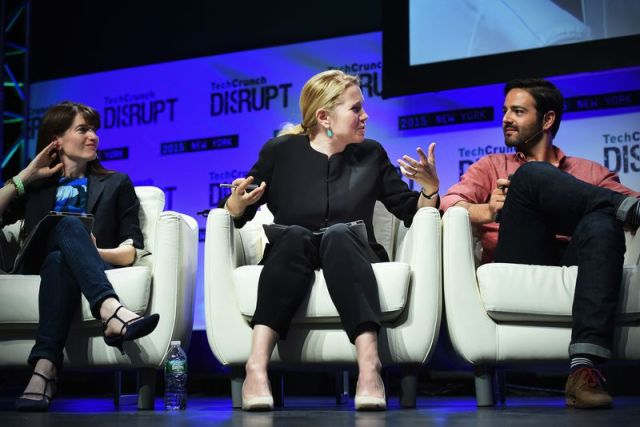 Jessica Livingston (middle) speaks onstage during TechCrunch Disrupt in New York City on May 4, 2015.