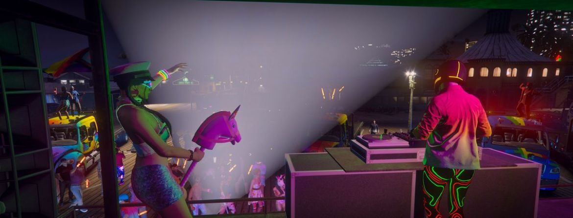Grand Theft Auto Online - a collection of players dance with props on stage at a Pride parade
