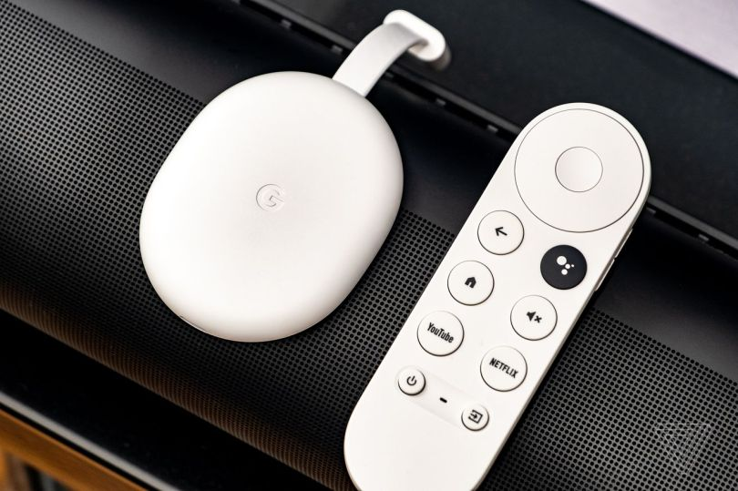 An image of the Google Chromecast, the best streaming stick of 2021 for most people, resting on a soundbar.