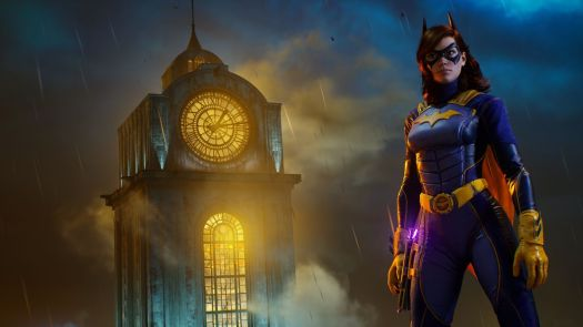Batgirl stands in front of a clock tower in a screenshot from Gotham Knights