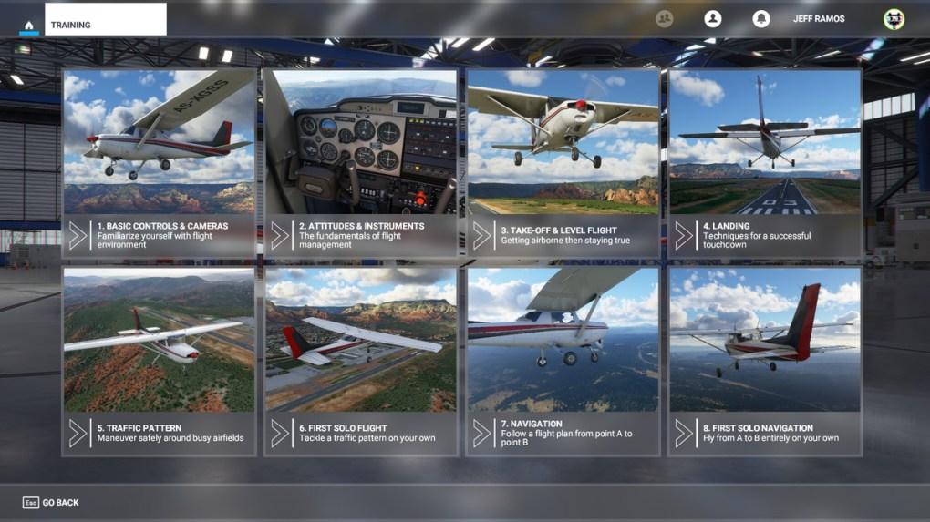 Menu Huấn luyện bay trong Microsoft Flight Simulator