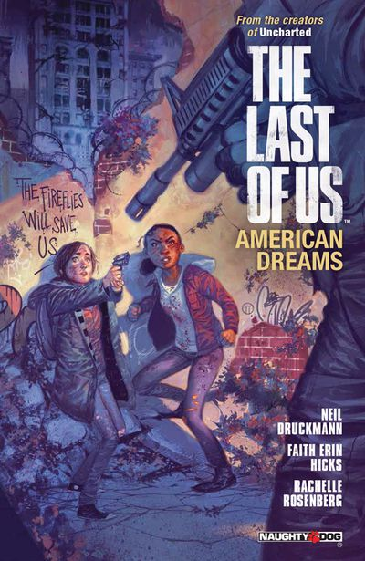 An armed man menaces Ellie and her girlfriend Riley on the cover of The Last of Us: American Dreams (2013).