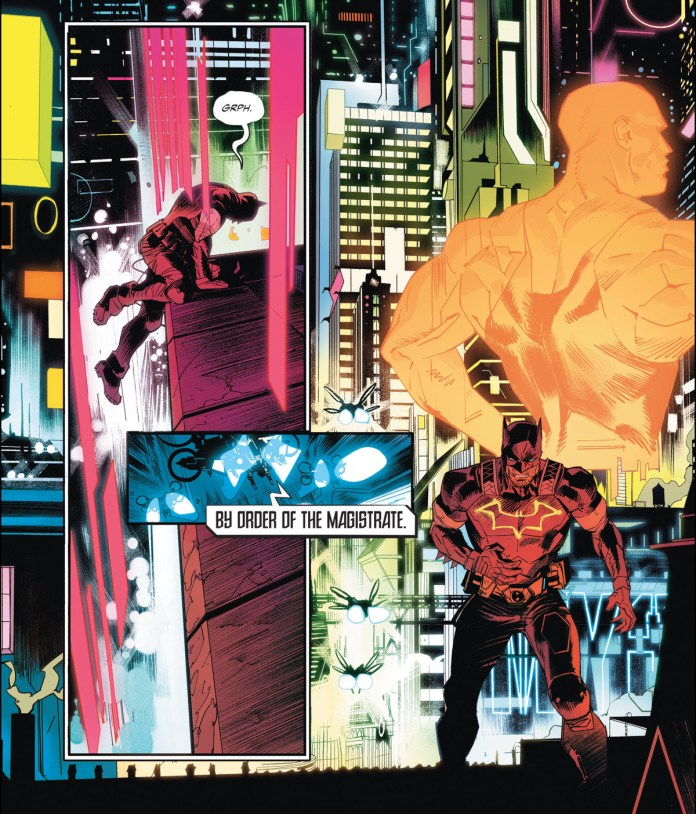 An injured, cape-less Batman groans he hauls himself over the edge of a rooftop in a neon splashed Gotham full of hologram ads and red underlights in Future State: Dark Detective #1, DC Comics (2021).