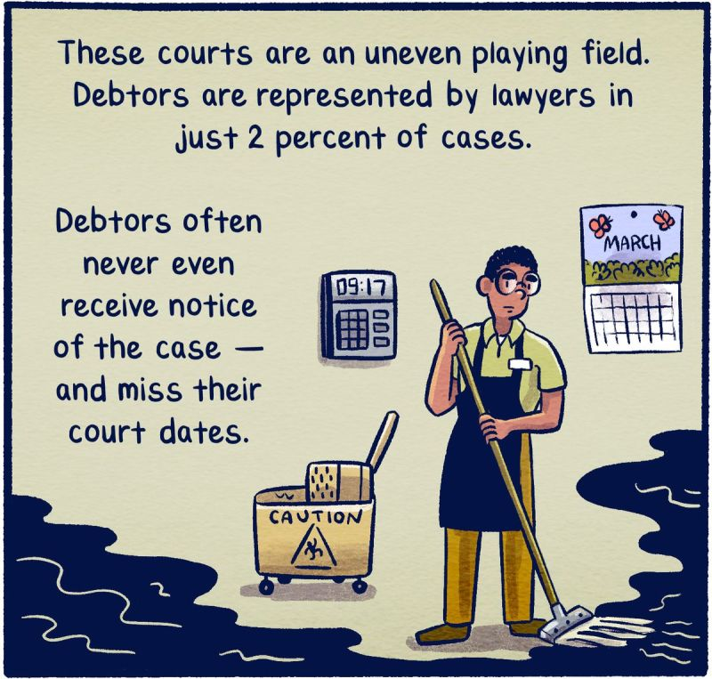 These courts are an uneven playing field. Debtors are represented by lawyers in just 2 percent of cases. Debtors often never even receive notice of the case — and miss their court dates.