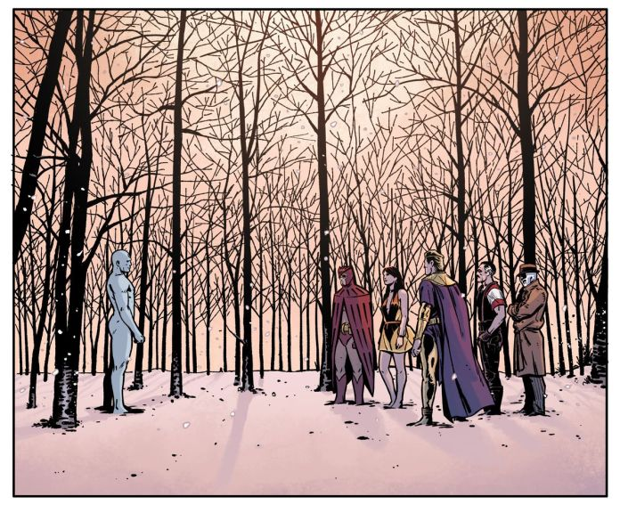 Doctor Manhattan, Nite Owl, Silk Spectre II, Ozymandias, the Comedian, and Rorschach all stand in a snow-covered forest, in a panel from Rorschach, DC Comics.