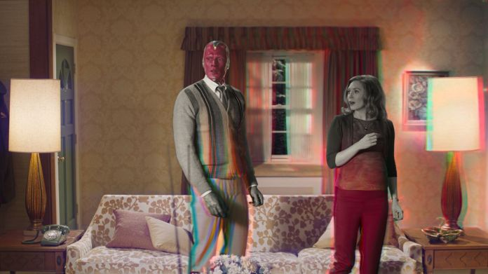 vision and scarlet witch fade from black and white to color in wandavision