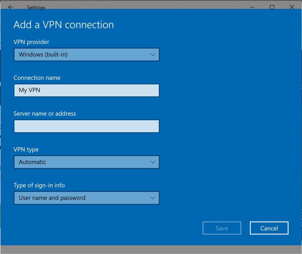 Thêm cấu hình VPN trong Windows 10.
