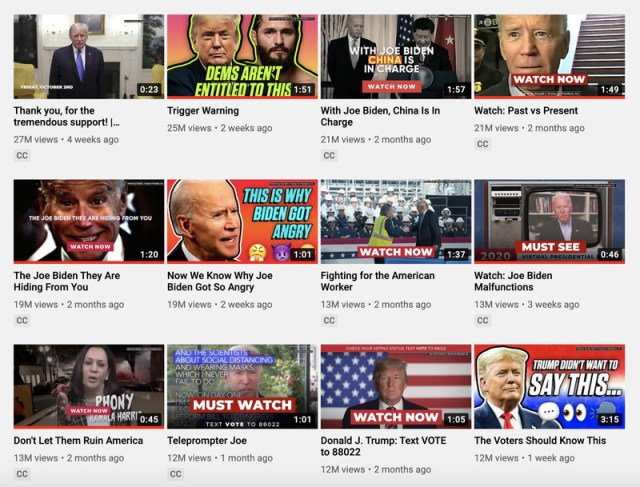 A collection of thumbnails from Donald Trump's YouTube page