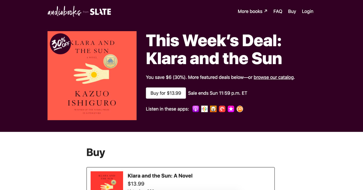 Slate is selling audiobooks that you can listen to through your podcast app
