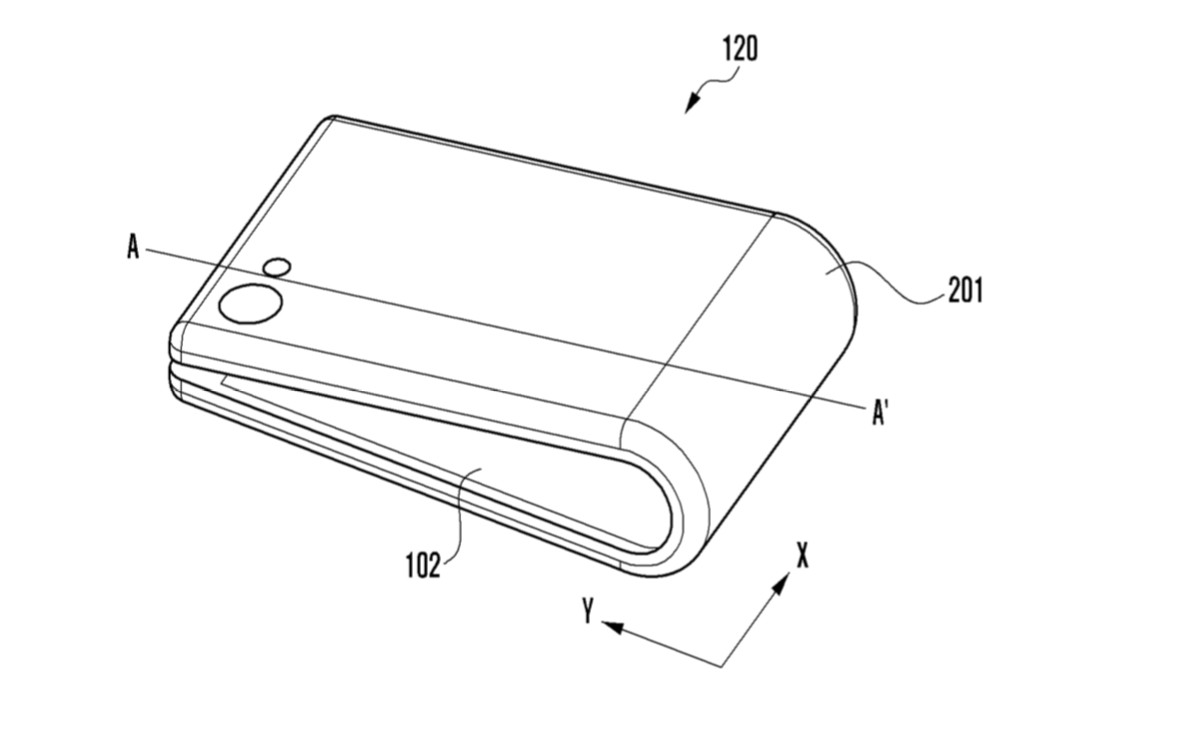 hight resolution of a samsung bendable phone patent