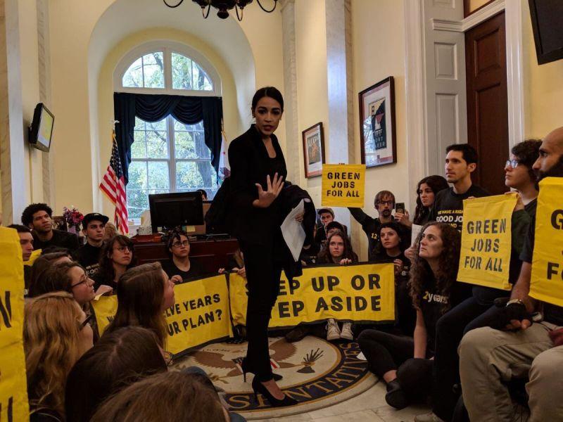 Sunrise Pelosi protest with Alexandria Ocasio-Cortez.