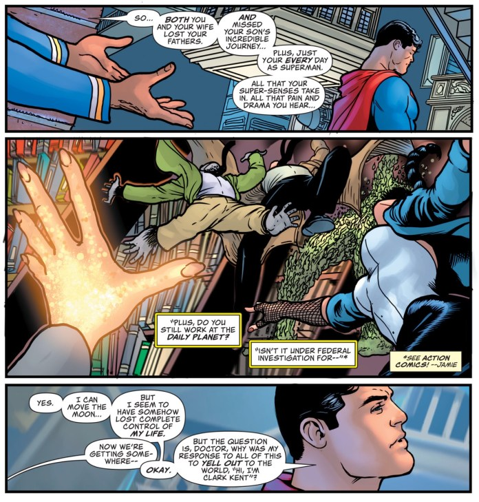 Doctor Fate reminds Superman that he's been through a lot of really heavy stuff recently, and he might want to slow down and thing about it, in Superman #23, DC Comics (2020).
