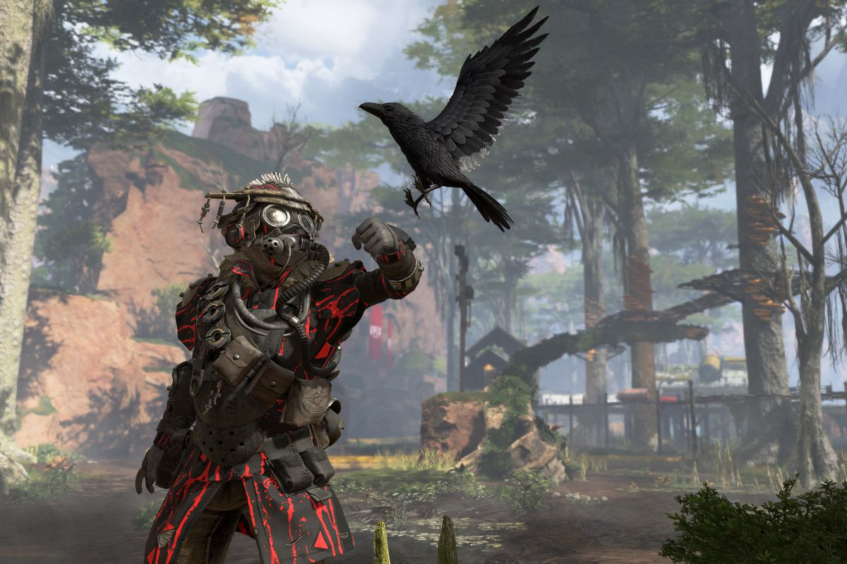 hight resolution of a soldier named bloodhound looks to his raven in a screenshot from apex legends