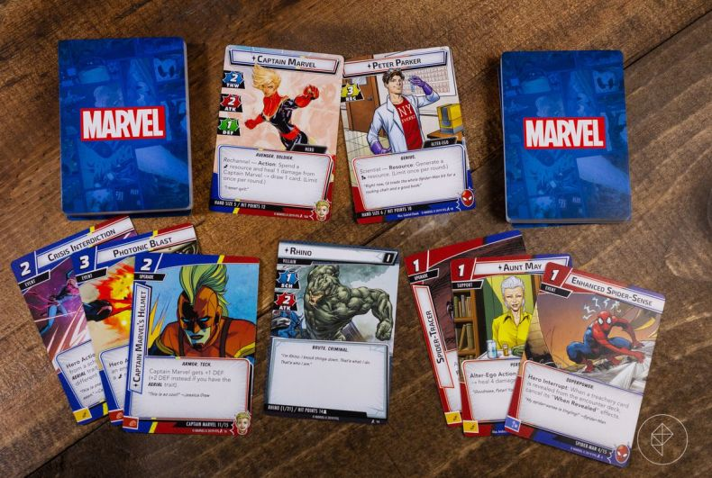 Captain Marvel and Peter Parker take on Rhino in a mock set-up of the cards fropm Marvel Champions.