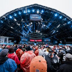 Fans gather ahead of the 2021 NFL Draft on Thursday, April 29, 2021 in Cleveland, Ohio.