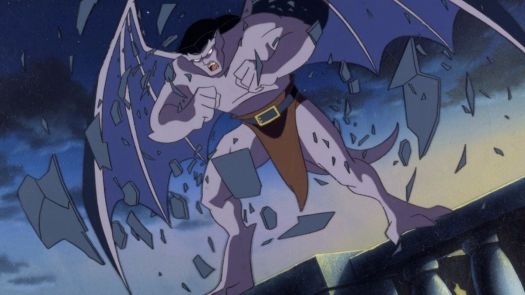 Lead gargoyle Goliath explodes out of his stone shell at dusk.