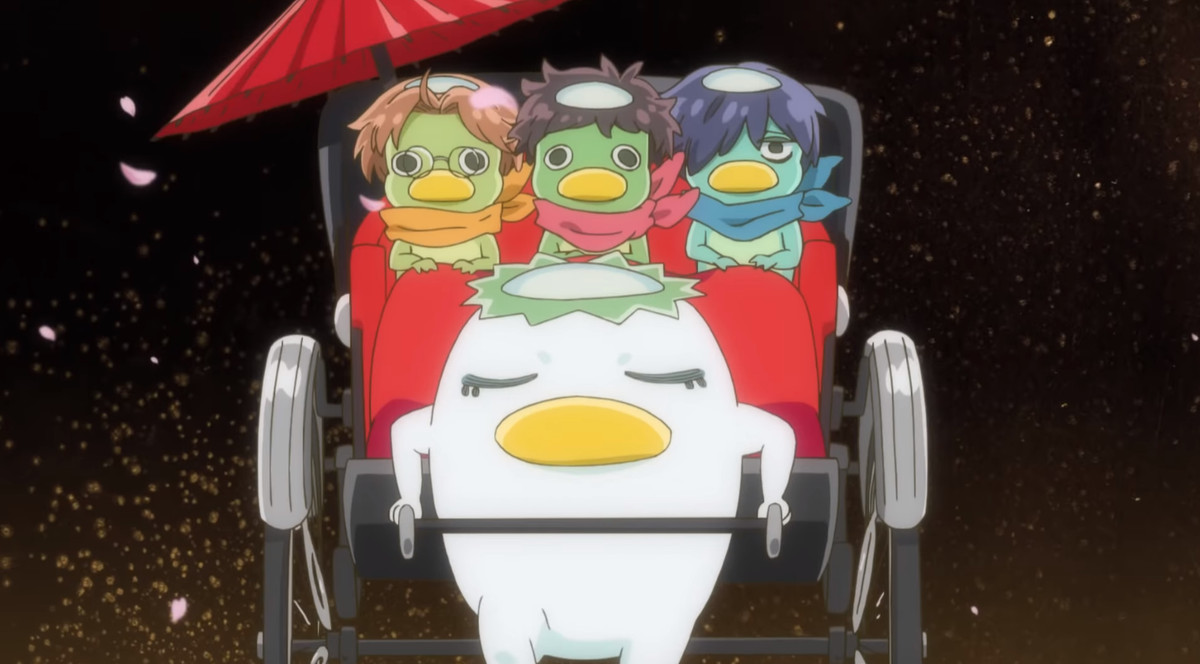 The three protagonists ride a cart led by another kappa