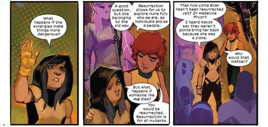 Gabby Kinney/Honey Badger, a clone of Laura Kinney/Wolverine, asks Wolfsbane whether mutant clones get Krakoan resurrection, in New Mutants #14, Marvel Comics (2020).