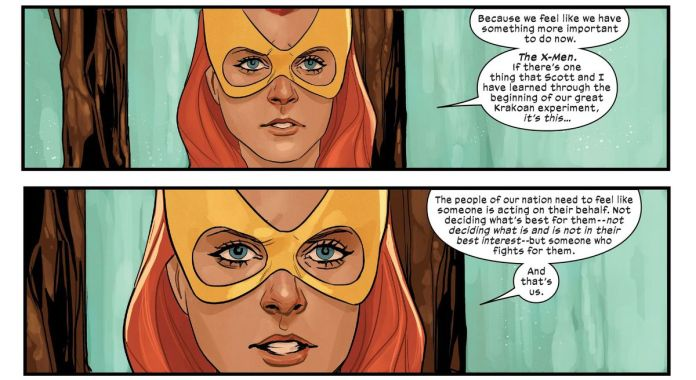 """Jean Grey declines a reinvitation to Krakoa's Quiet Council in favor of restarting the X-Men, saying """"The people of our nation need to feel like someone is acting on their behalf [...] and that's us."""" in X-Men #16, Marvel Comics (2020)."""