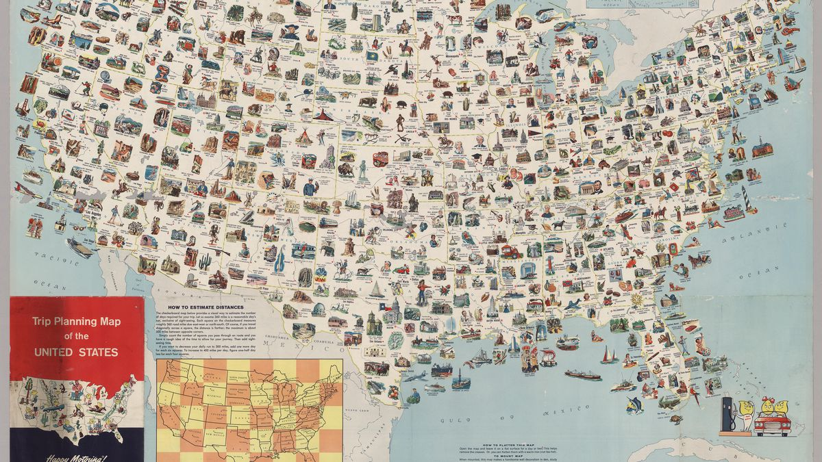 Randy olson / google maps planning the ultimate u.s. Visit Every Place On This Vintage Us Map For The Most Epic Road Trip Ever Vox