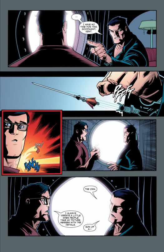 """""""I have no time for this. Goodnight, Kent,"""" says Bruce Wayne, before firing a tranquilizer dart from a hidden wrist mechanism. It bounces harmlessly off of Clark Kent's impervious neck, and they both stand in shock as they realize the other is Batman and Superman respectively, in Superan/Batman Annual #1, DC Comics (2006)."""