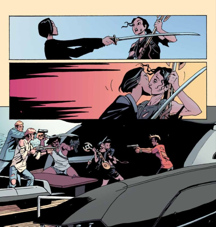 Andy deflects Noriko's katana only to be caught by her kiss as the rest of the Old Guard look on in shock in The Old Guard: Force Multiplied #5, Image Comics (2020).