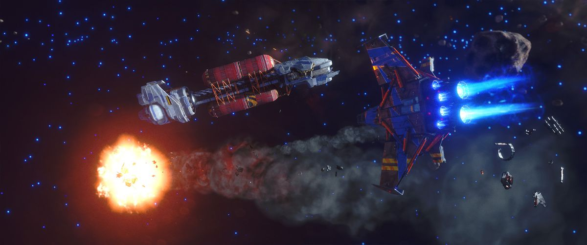 A player in a mid-level ship with four wings, painted red  and blue, lights up an enemy ship in battle alongside a large transport ship.