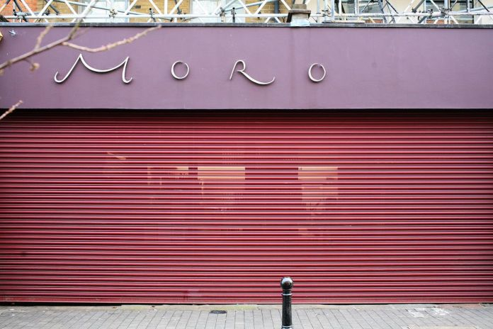 Moro, with its shutters closed, in Exmouth market last week during the coronavirus lockdown in London