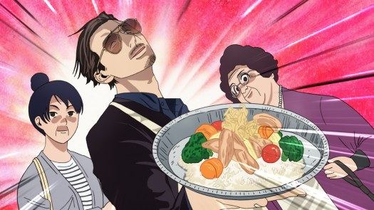 """""""Immortal Tatsu,"""" the legendary yakuza, holding a plate of food dramatically"""