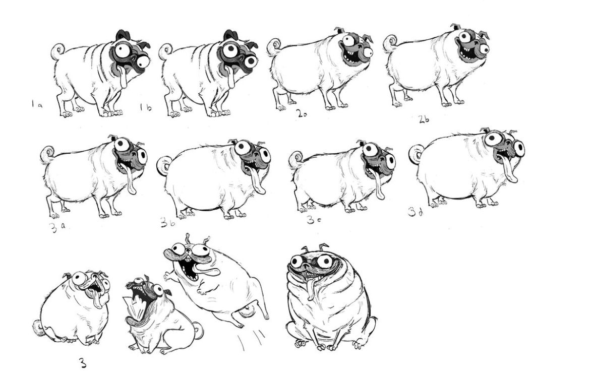 A series of developmental sketches for Monchi the pug, mostly standing, with various levels of lolling tongue, missing teeth, and bugged-out eyes