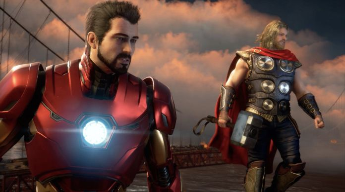 Iron Man and Thor hover near the Golden Gate Bridge in a screenshot from Marvel's The Avengers game.
