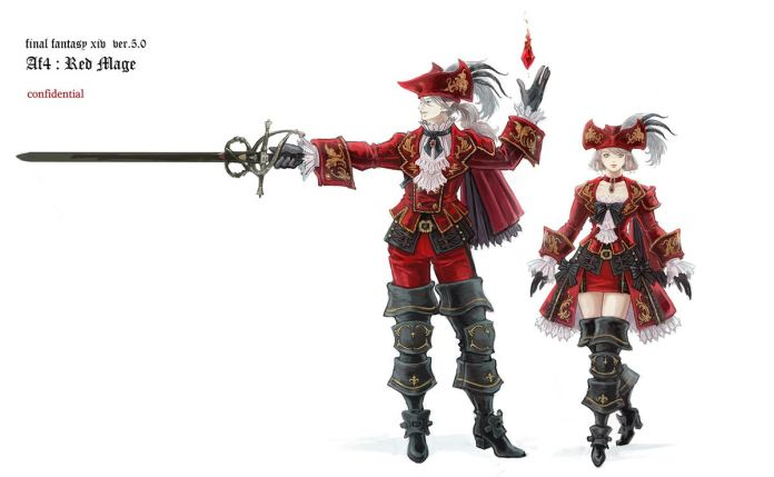 A male model clad in Red Mage Artifact armor holds a rapier. A female model next to him stands as if she is going to walk forward.