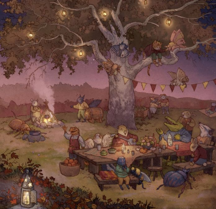 A group of animals, including moths, squirrels, mice, bears, and a crocodile string lights and banners for a feast. A table is laid out with wine and fruits.