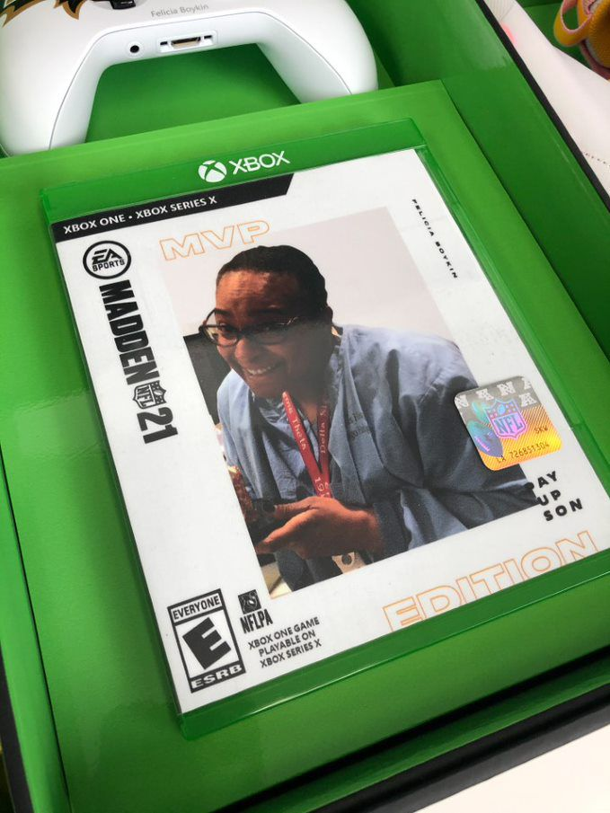 image of a custom-made Madden NFL 21 game case for Felicia Boykin, the mother of Ravens receiver Miles Boykin.