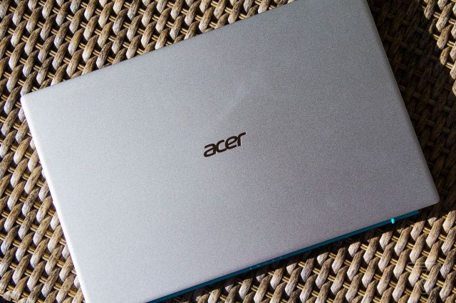The lid of the Acer Swift 3X from the top.