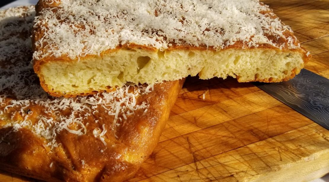 Modena's Parmesan-topped focaccia includes a blend of Caputo flour and Maryland wheat ground on-site.