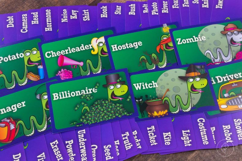 A selection of occupation and effects cards for the game Snake Oil. Occupations include Billionaire, Witch, and Hostage. Effects include Hook, Shirt, Key, Seed, Truth, Kite, Costume.