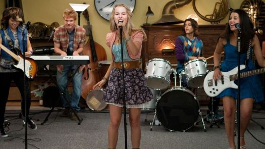 Bridgit Mendler and Lemonade Mouth practice in Disney Channel's movie Lemonade Mouth