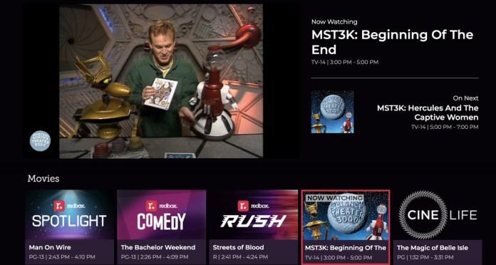 A screenshot of the Redbox streaming platform