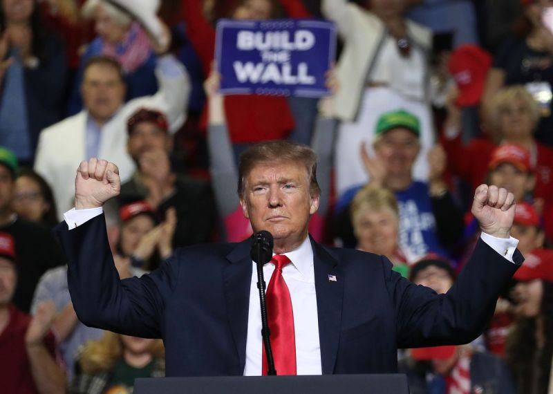 President Donald Trump speaks during a rally on border security at the El Paso County Coliseum on February 11, 2019, in El Paso, Texas.
