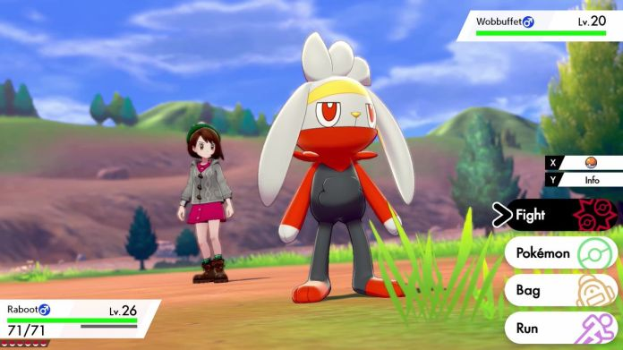 A Pokémon trainer sends out her Raboot in Pokémon Sword and Shield