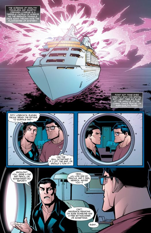 Disaster strikes on a cruise ship, as Bruce Wayne and Clark Kent internally plan how to save the day, and then each try to insist the other leave the room, so they can preserve their secret identities, in Superman/Batman Annual #1, DC Comics (2006).