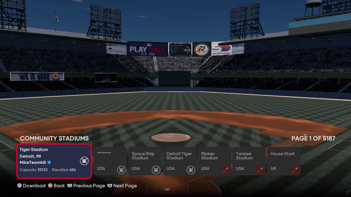 Tiger Stadium (1912-1999) as created by a fan in MLB The Show 21