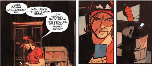 """Roy Harper thinks aloud about texting his Teen Titans teammates. """"Hey, guys, it's Roy, funny story. I'm totally back from the dead, no idea why... wanna hang?"""" And then throws his phone in the garbage, in Infinite Frontier #0, DC Comics (2021)."""