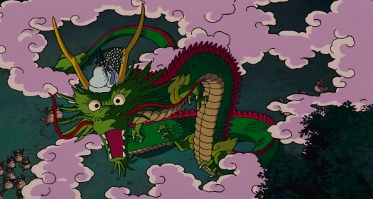 An illusory Chinese dragon, wreathed in pink smoke, rises up from a gathering of tanuki in Pom Poko