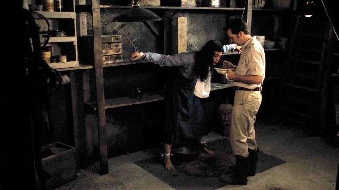 A man in khaki pants and a khaki shirt feeds soup out of a bowl to a long-haired woman bound spread-eagled against a set of filthy shelves in his basement in The Woman.