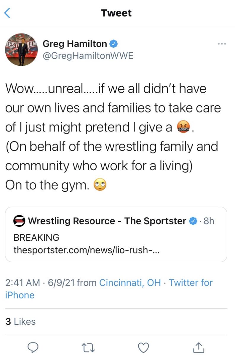 Greg Hamilton admits he was wrong for mocking Lio Rush's retirement