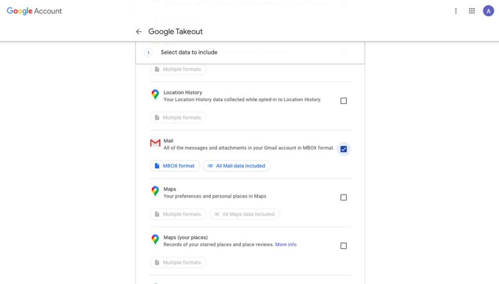 Tùy chọn Google Takeout